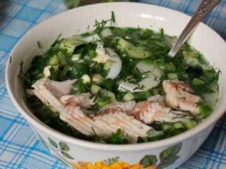 Окрошка рыбная. Рецепт первого блюда