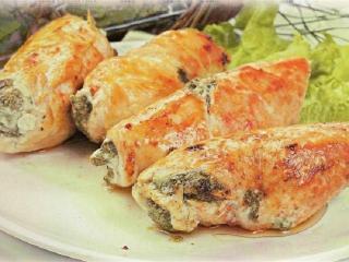Фаршированное куриное филе. Блюда из курицы