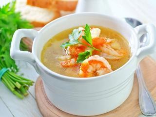 Суп «морской» с креветками. Первые блюда из рыбы. Праздничный рецепт