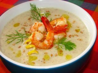 Суп – пюре с креветками. Блюдо из морепродуктов.<br> Вкусный рецепт первого блюда