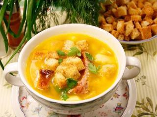 Гороховый суп с гренками. Вкусный рецепт супа.<br> Первое блюдо